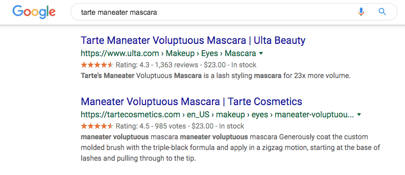 "Google search results for ""tarte maneater mascara"""