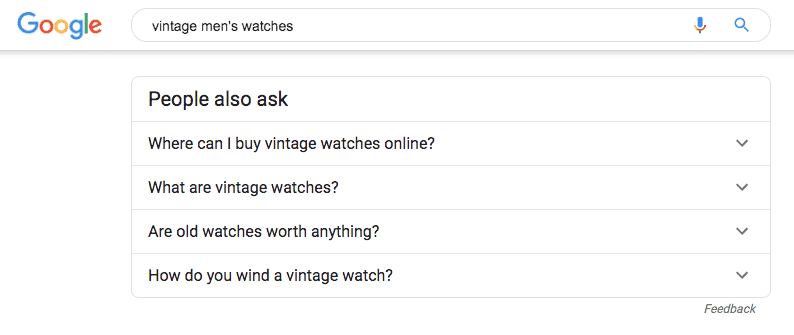 "Google search: ""vintage men's watches"" results in multiple ""people also ask"" questions."
