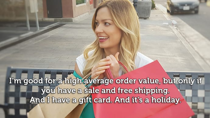 Average order value is an unreliable variant   woman on a bench with shopping bags