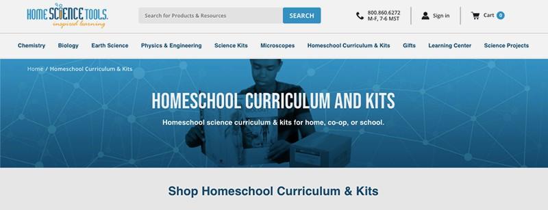 Home Science Tools Homeschool Curriculum and Kits screenshot.