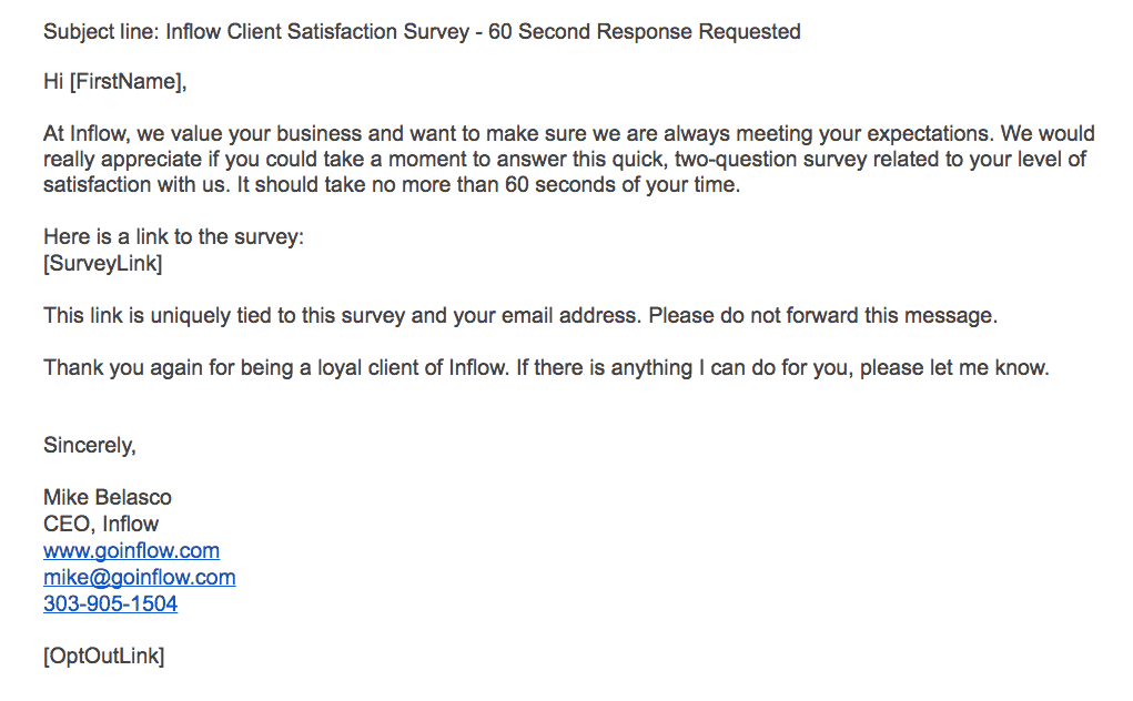 Client satisfaction email
