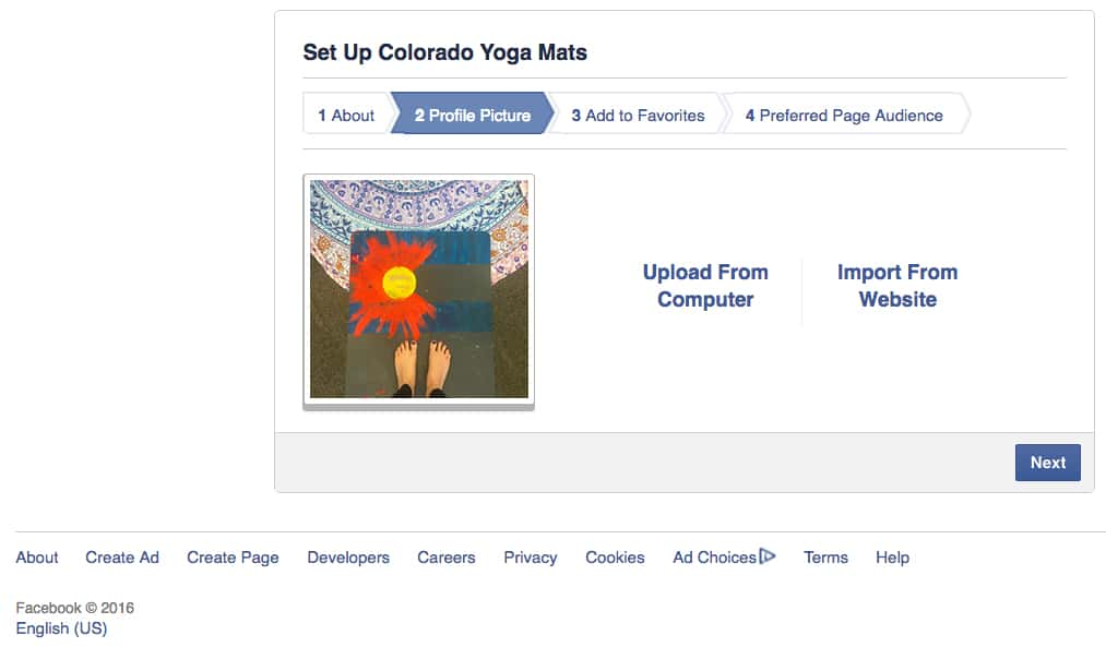 set up a brand Facebook page