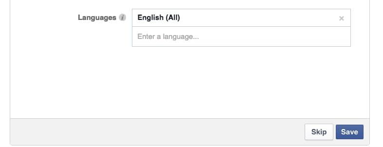 Facebook language settings