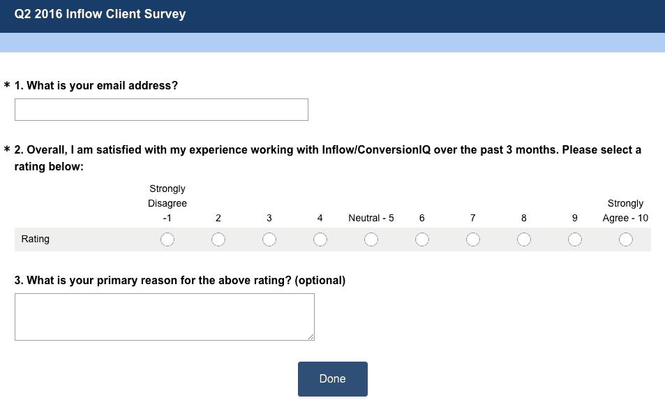 Inflow SEO, CRO and PPC client survey