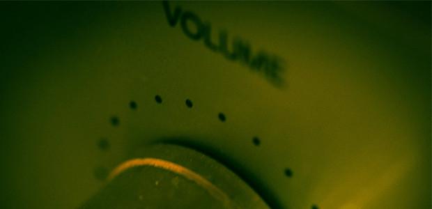 A close-up photograph of a volume knob.