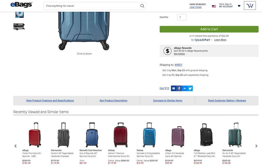 eBags screenshot of product detail. The top section is the product detail for a hardside suitcase. Below the product detail sections is a section titled Recently Viewed and Similar Items which contains 8 products each displaying a photograph of the item, the name and the price and the ability to scroll left or right.