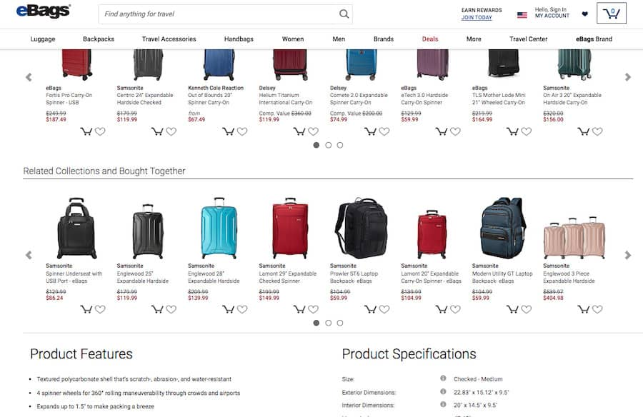 eBags screenshot. Two horizontal rows of products with 8 products per row and the ability to scroll right or left.  Each product displays a photograph of the item, the name and the price.
