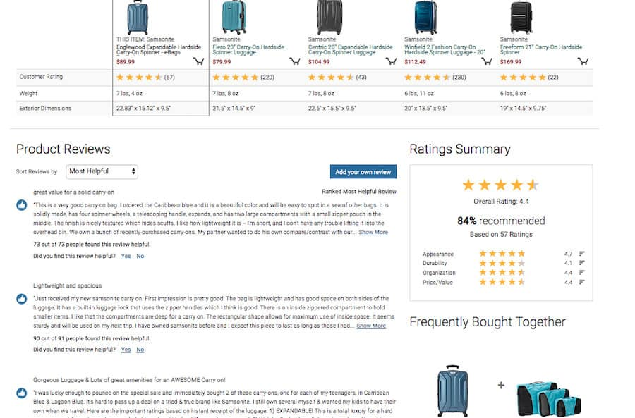 eBags screenshot. At the top is a horizontal row of five hardside suitcases, each with a price, customer rating, weight and exterior dimensions. The first product is highlighted. Below on the left is a section titled Product reviews. Below on the right is a section titled Ratings summary. Below, is a section titled Frequently Bought together followed by the currently selected product and an additional item.