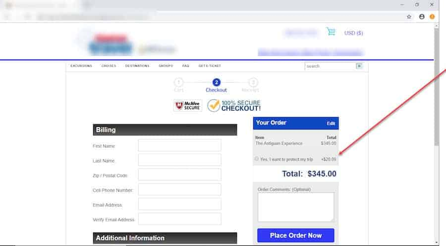 A screenshot of a checkout page. On the left is the billing information. On the right is a section labeled Your Order. Beneath is the product and total. Below the product is an option button titled Yes, I want to protect my trip + .00.
