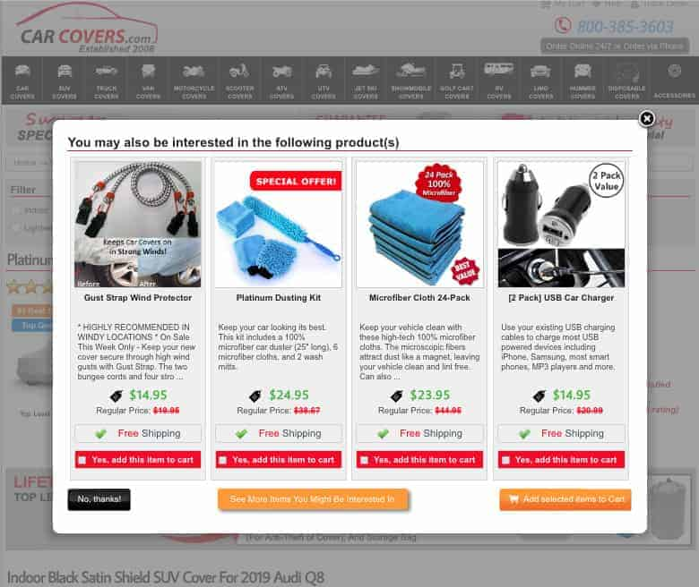 """Carcovers.com modal screenshot. Four products in a horizontal row, each with a photograph, name, description, price and a button labeled """"Yes, add this item to cart."""""""