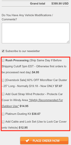 Carcovers.com checkout screenshot. At the top is the grand total followed by a comments section. Beneath the comments section are five checkboxes: Rush processing followed by four different product options. At the bottom is a button labeled Place order now.
