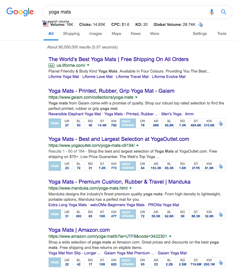 """A sample of what's displayed in a google search for """"yoga mats"""". Proving that some outrank bigger sites like Amazon when they have a higher UR."""