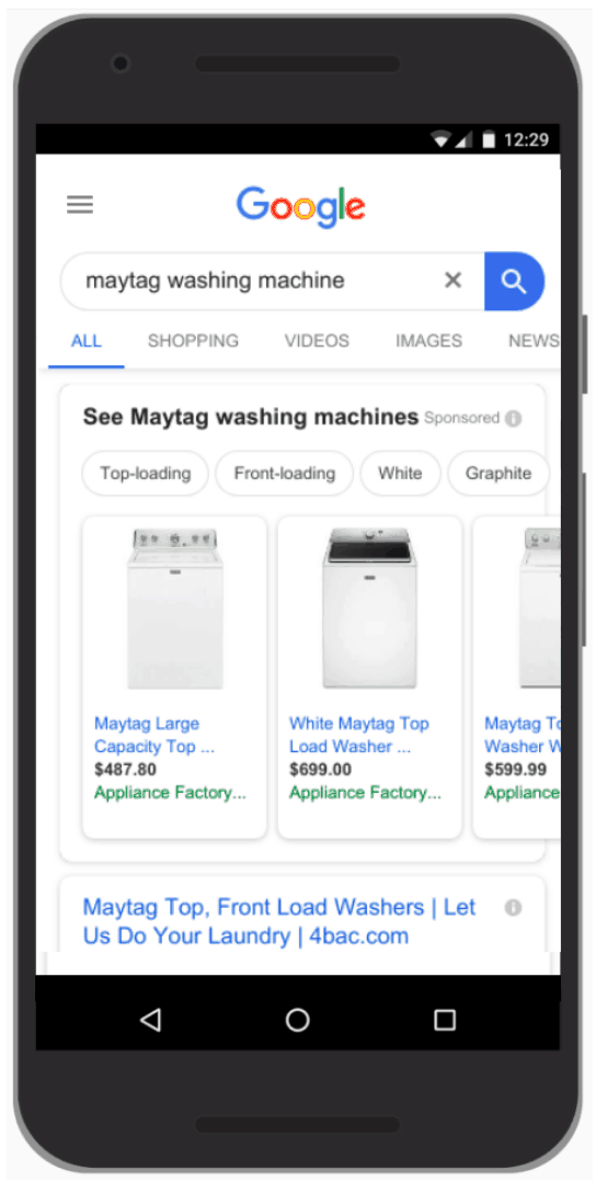 A photograph of a mobile phone displaying a Google search for Maytag washing machine. The Google shopping ads display in a horizontal row across the top with a photograph of the product, the name, price, and store.