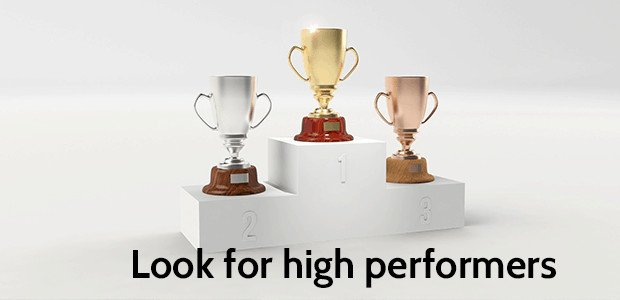 A photograph of three trophies on a winner podium. Text states: Look for high performers.