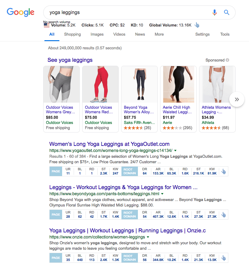 "A sample of what's displayed in a google search for ""yoga leggings"". Proving that product pages rank without a huge number of backlinks."