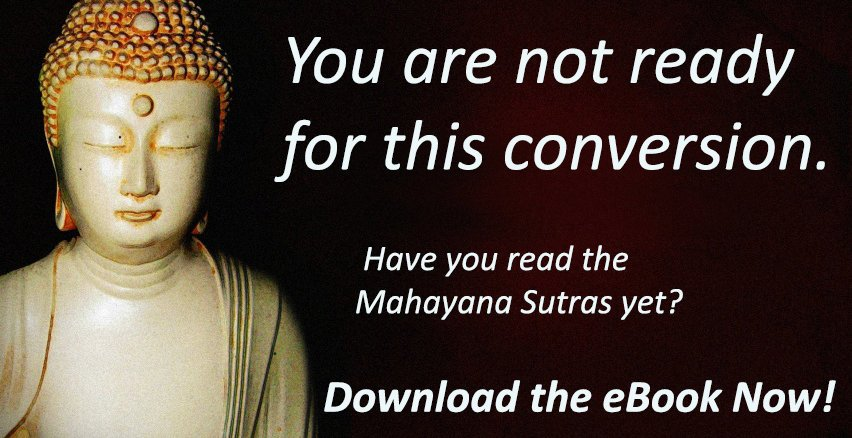 A photograph of a Buddha statue with the text: You are not ready for this conversation. Have you read the Mahayana Sutras yet? Download the eBook Now!