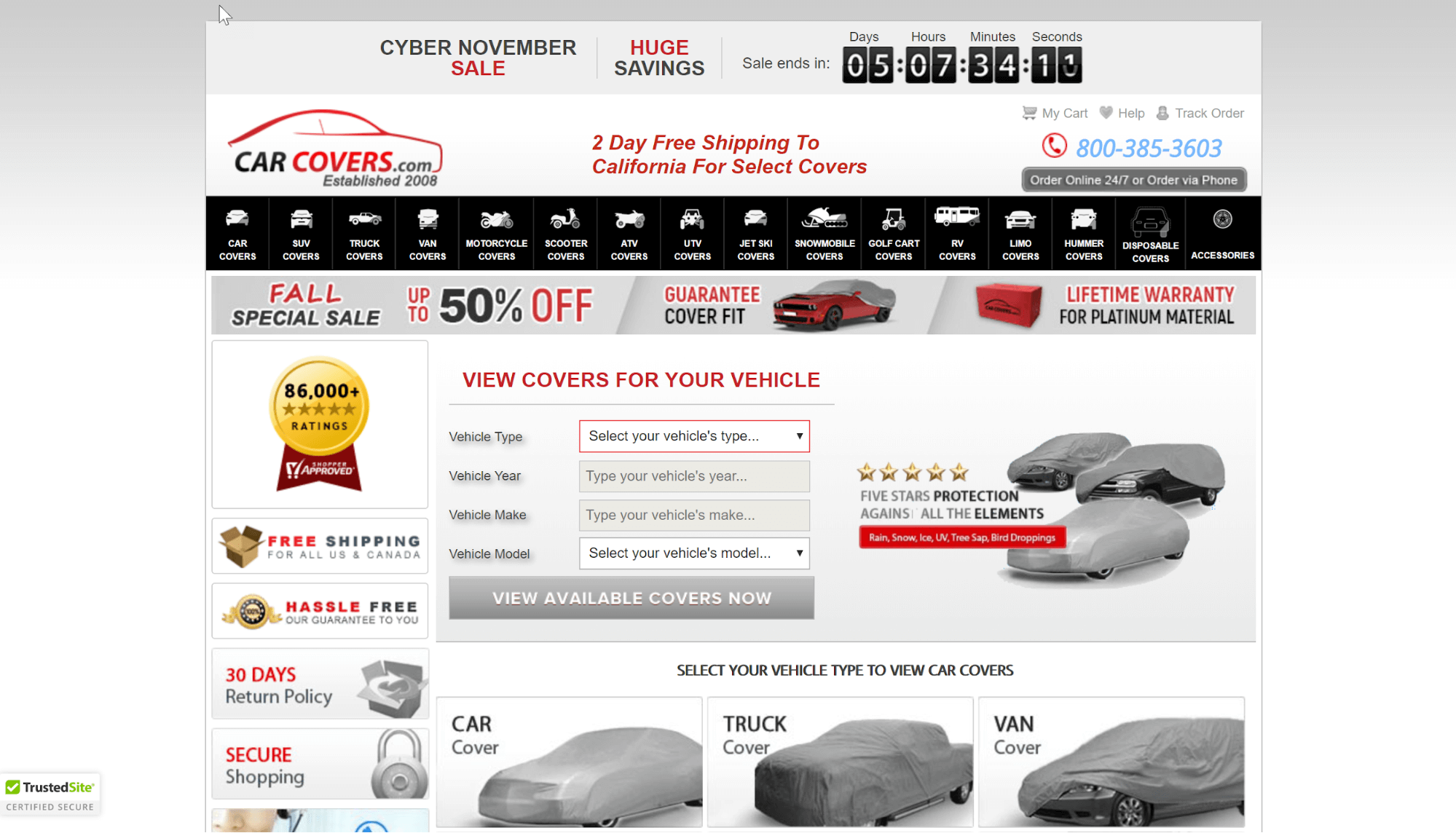 Car Covers saw an increase in conversions by switching their trust seal to TrustedSite.