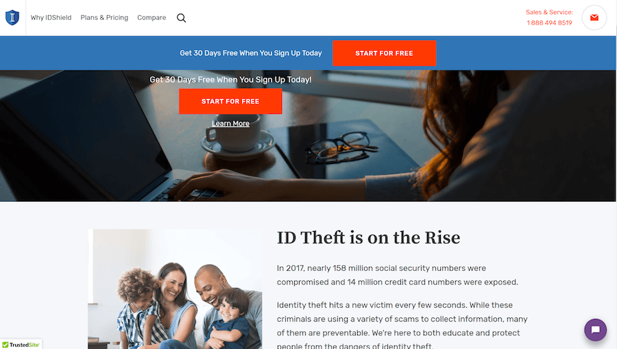 I D Shield website screenshot. Text at center states: I D Theft is on the Rise.