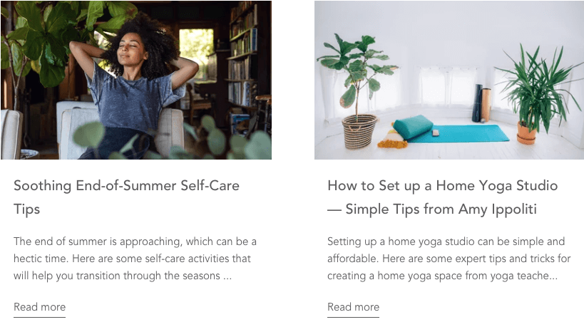 Two variable eCommerce personalization blog examples on Yoga Outlet.