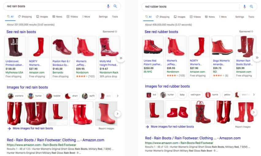 "Google search results for ""red rain boots"" and ""red rubber boots""."