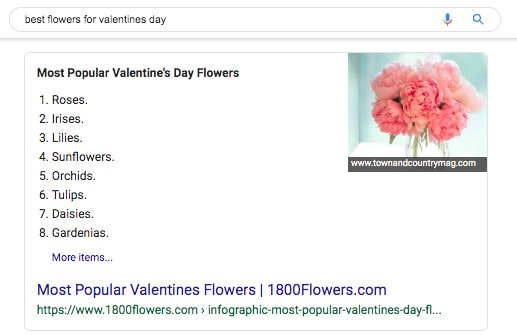 "The featured snippet for the Google search: ""best flowers for valentines day""."