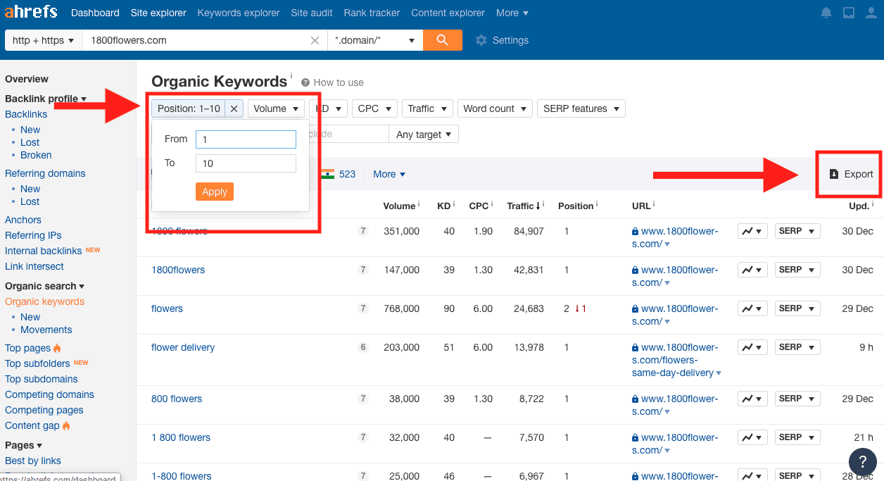 Export your report in Ahrefs.