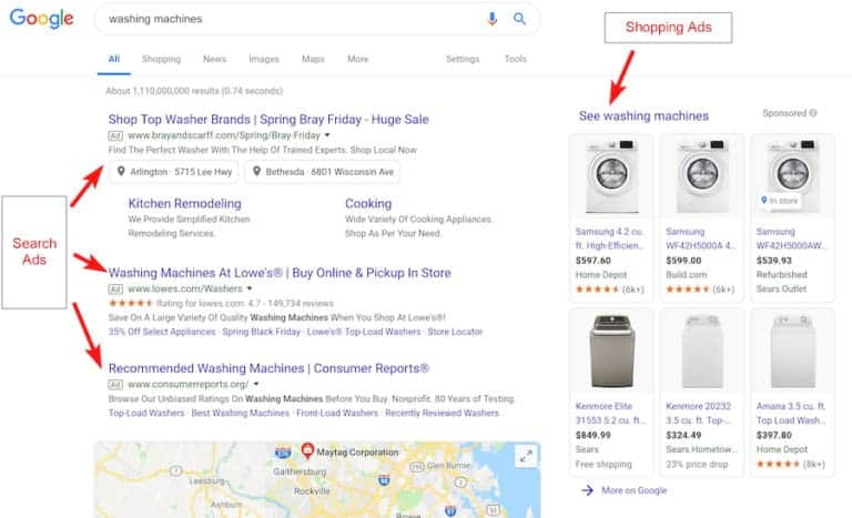 "Google shopping ads and Google search ads (results for ""washing machines"")"
