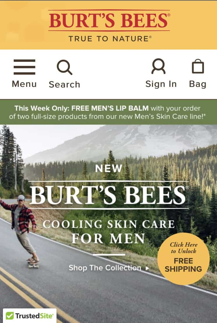 Burt's Bees landing page with TrustedSite verification.