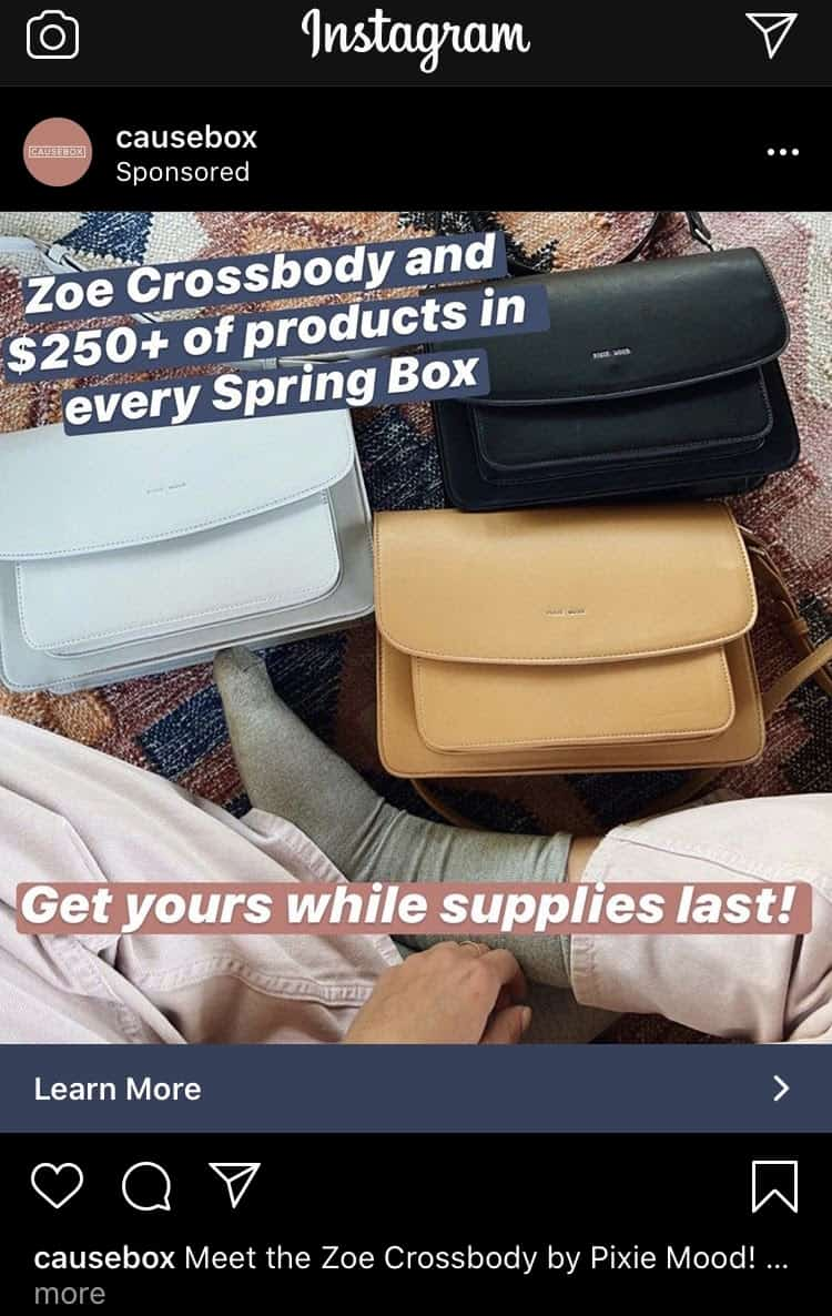 A Causebox Instagram ad. A photograph displays three different colored purses in front of a seated person.