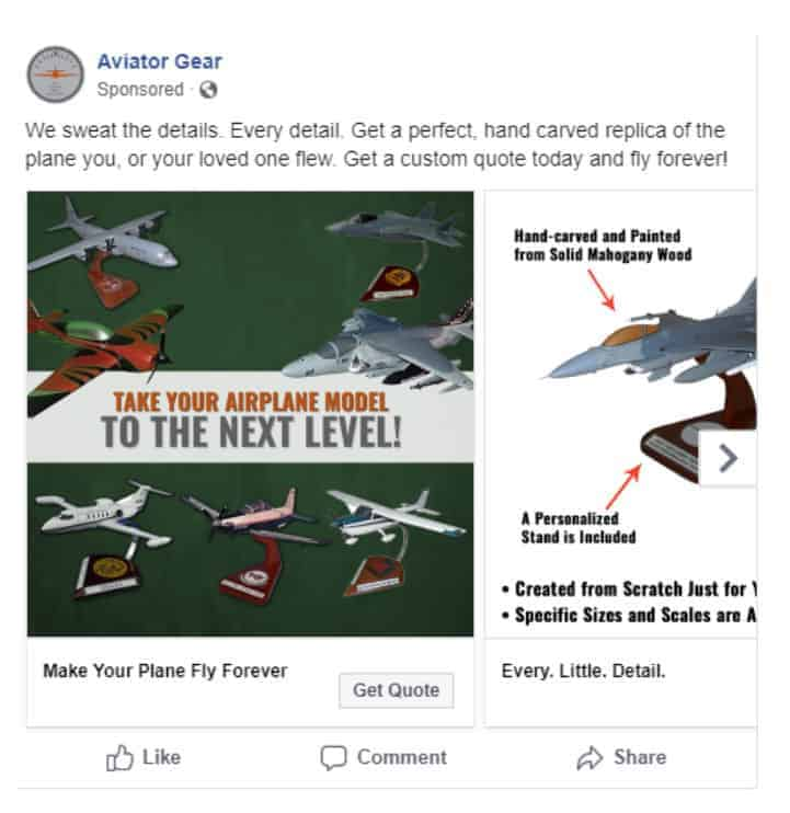 """Do"" ad example from Aviator Gear on Facebook"