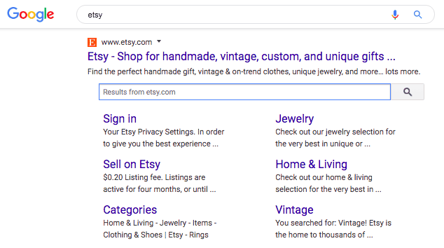 """etsy"" Google search results pulls in Etsy at the top with a search bar into Etsy's actual site."