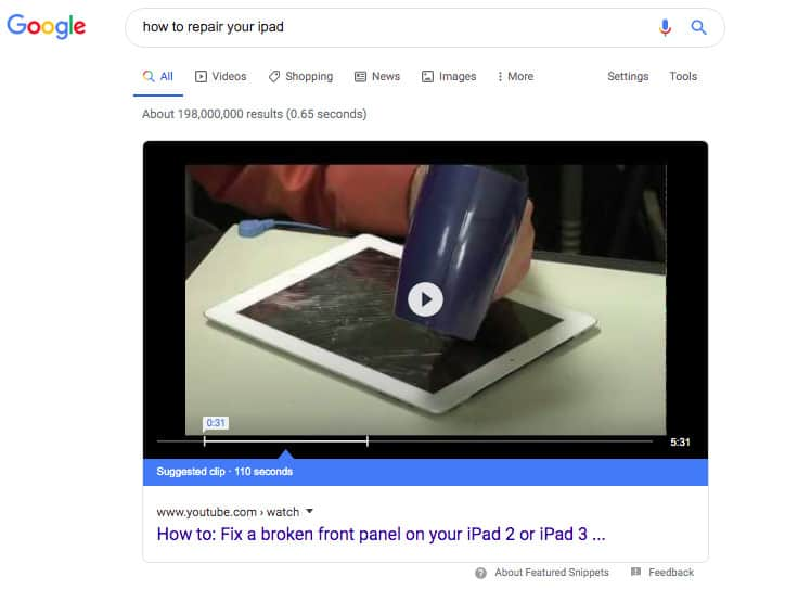 """how to repair your iPad"" Google results with a video on the top of the page."