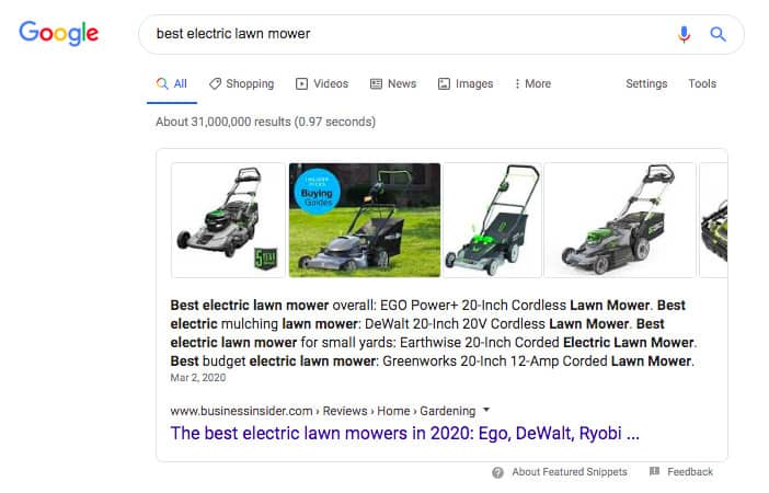 """best electric lawn mower"" Google search results"