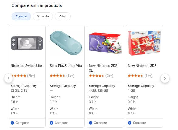 """Compare similar products"" shopping results with pricing and reviews"