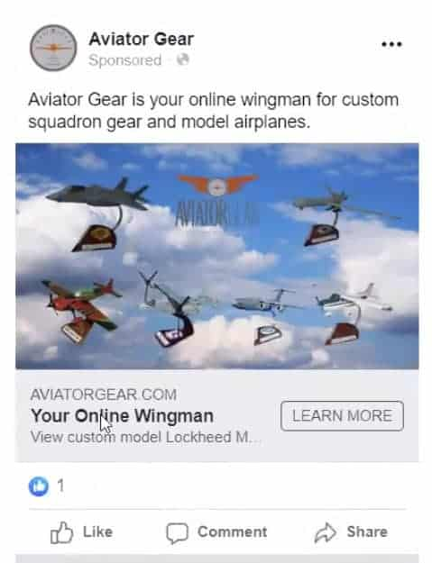 """See"" ad example from Aviator Gear on Facebook"