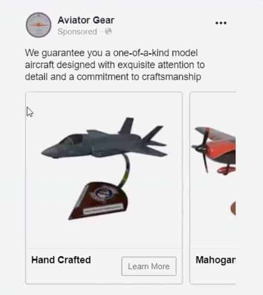 """Think"" ad example from Aviator Gear on Facebook"
