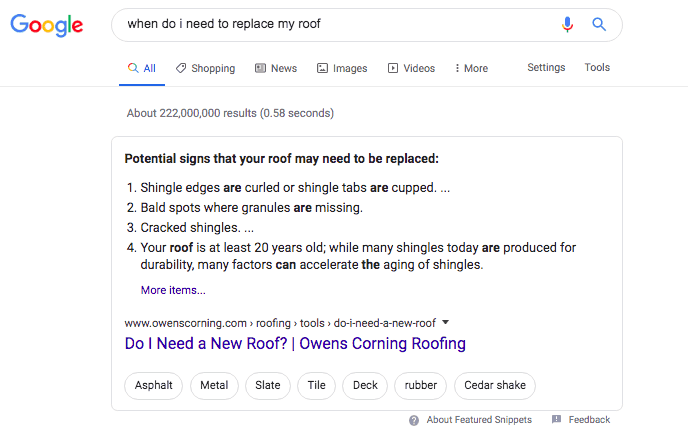 """when do I need to replace my roof"" Google Q&A snippet"