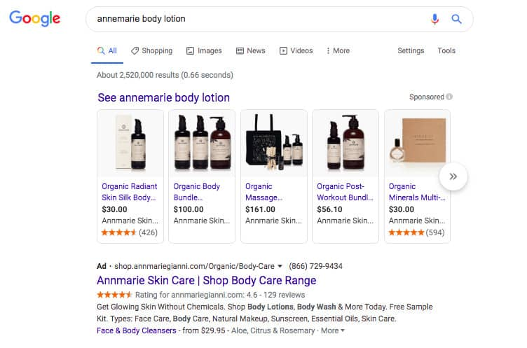 """Annemarie"" body lotion Google search"