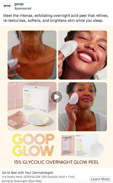 """Goop"" Sponsored Ad on Facebook"