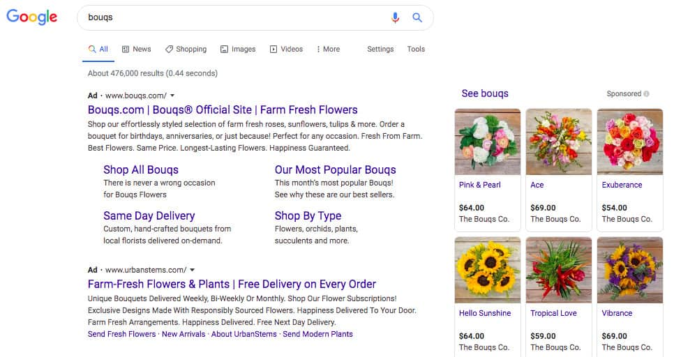 Google search results for bouqs. The first Ad search result is for Bouqs.com. The second Ad search result is for Urban Stems.