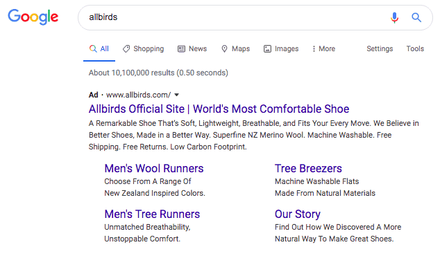 Google search result for allbirds. Allbirds official site is the top result. Beneath the first text are two columns and two rows of links to specific pages on Allbirds