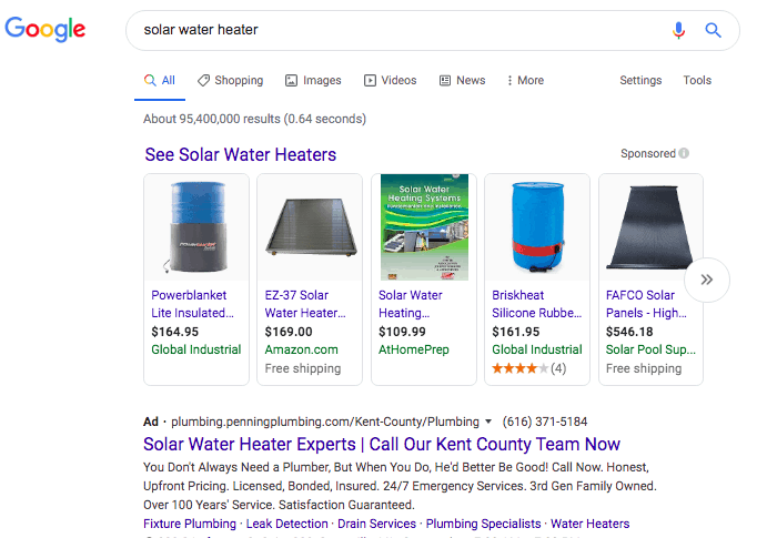 Google search results for solar water heater. Text at the top of the results states: See solar water heaters. Beneath is a horizontal row of products with an image of the product, name, price, website and rating with the option to scroll. Beneath, is a text ad for a solar water heater.