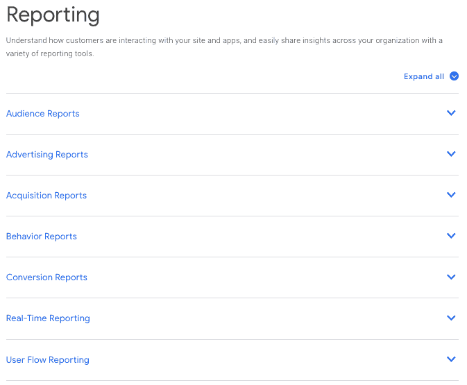 Reporting: Audience Reports, Advertising Reports, Acquisition Reports, Behavior Reports, Conversion Reports, Real-Time Reporting, User Flow Reporting.