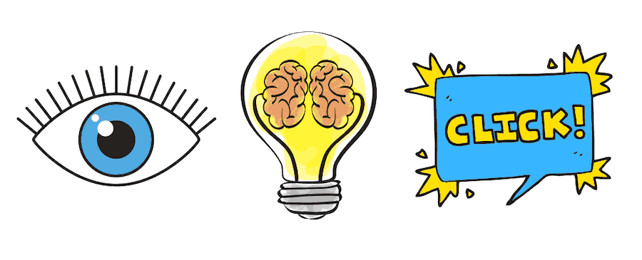 Three illustrations from left to right of an eye, a brain in a light bulb, and a conversation bubble with the text click.