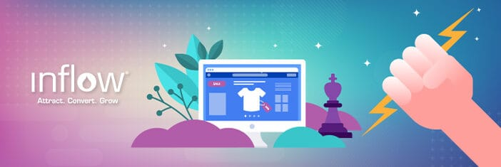 Illustration of eCommerce website with shirt displayed as product. An illustrated hand grips a lightning blot and a chess piece sits nearby.