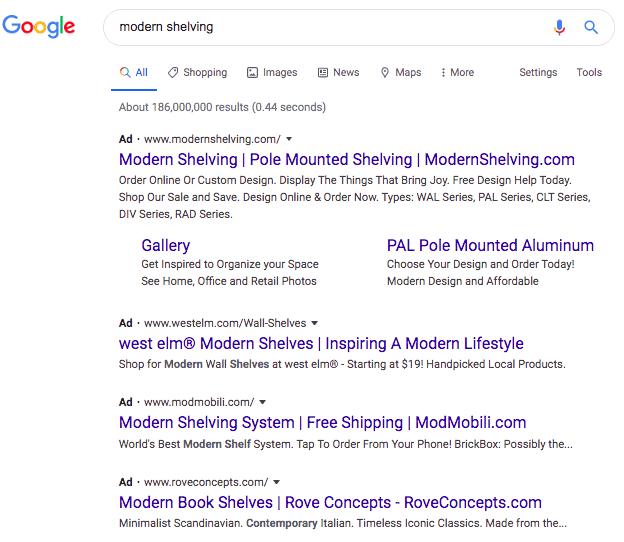 """Modern shelving"" Google search results"
