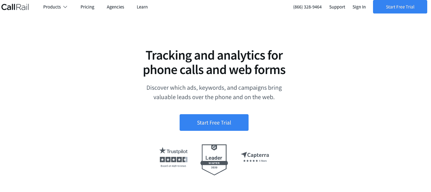 CallRail's landing page