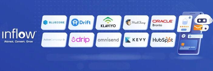 10 Logos as follows: Bluecore, Drift, Klaviyo, MailChimp, Oracle Bronto, ActiveCampaign, Drip, Omnisend, Kevy, Hubspot. Logo: Inflow. Attract. Convert. Grow.