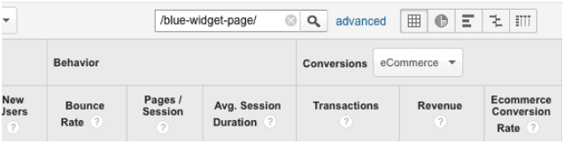 check revenue by typing URL into GA search