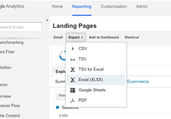 exporting data from google analytics to excel